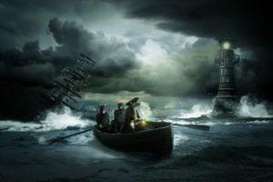 Imagen de una embarcación en alta mar en medio de una tormenta. auladefinanzaspersonales.com